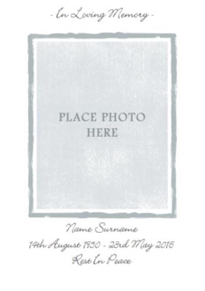 Grey And White Personalised Photo Upload With Sympathy Card