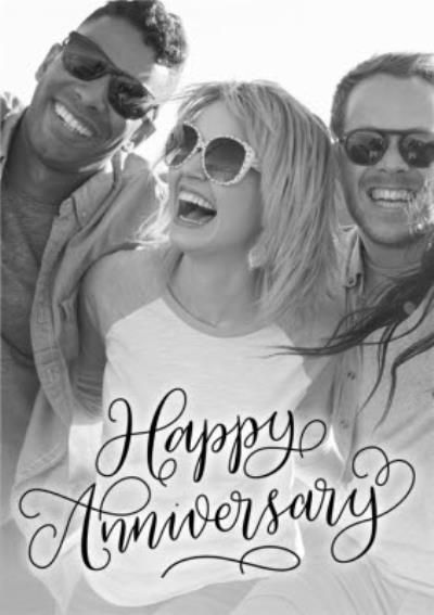 Happy Anniversary Script Font Photo Upload Card