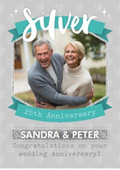 Photo Upload Silver 25Th Anniversary Card