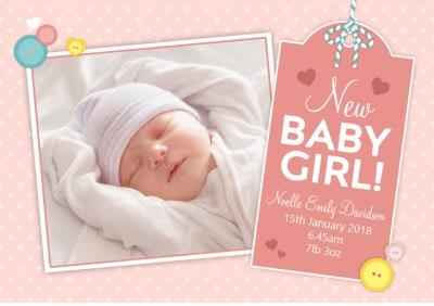 New Baby Girl Tag Photo Upload Card