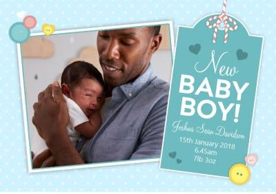 New Baby Boy Blue Landscape Announcement Card