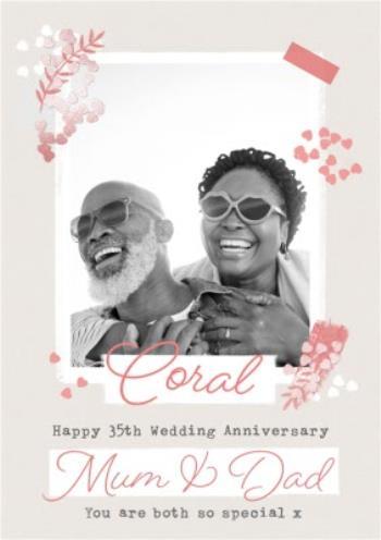 Coral Happy 35th Wedding Anniversary Mum Dad Photo Upload Moonpig