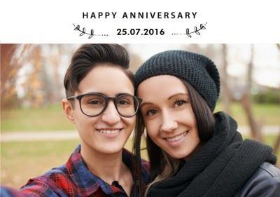 Happy Anniversary photo upload Card - Partner - same sex - lgbtq+ gay lesbian lgbt lgbtq