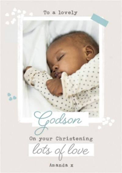 Godson On Your Christening Photo Upload Card