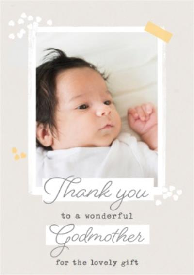 Thank You To A Wonderful Godmother Photo Upload Card