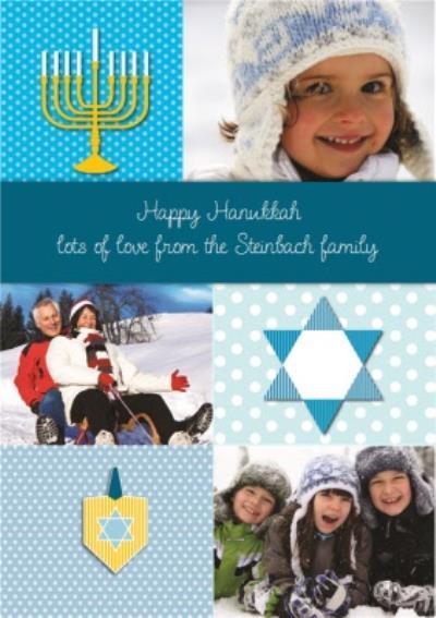 Blue Personalised Photo Upload Happy Hanukkah Card