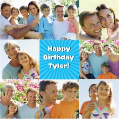 Square Multi Photo Personalised Upload Happy Birthday Card