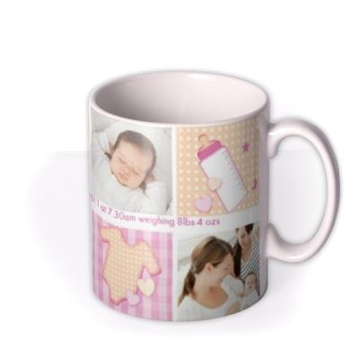 Baby Girl Collage Photo Upload Mug