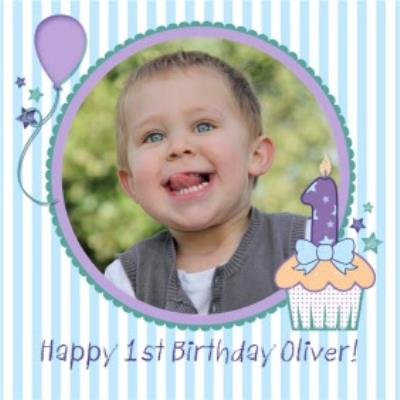 Blue Vertical Stripes Personalised Photo Upload Happy 1st Birthday Card