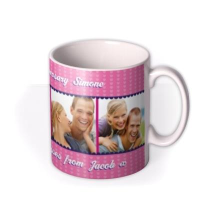 Bright Pink Hearts Photo Strip Personalised Mug