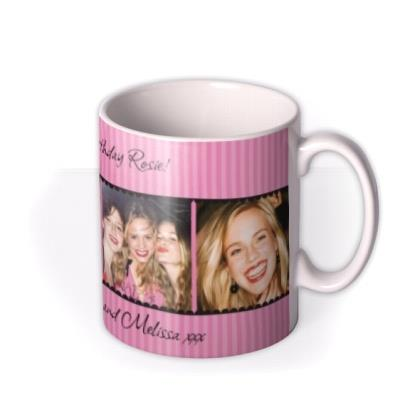 Pink Striped Photo Strip Personalised Mug