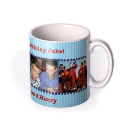 Blue Striped Photo Strip Personalised Mug