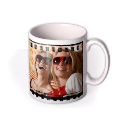 Film Strip and Text Photo Upload Mug