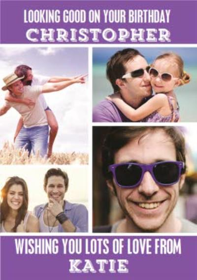 Bright Purple Multi-Photo Personalised Birthday Card