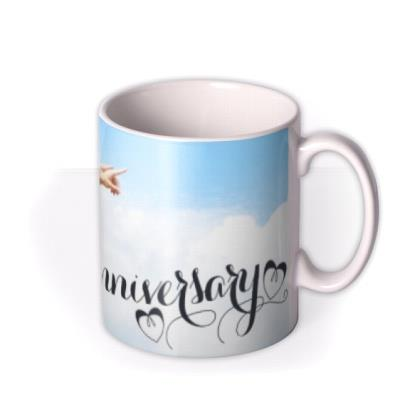 Happy Anniversary Calligraphy Hearts Photo Upload Mug
