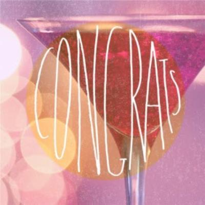 Congrats With Cocktail Glass Personalised Congratulations Card