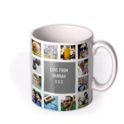 Happy Birthday Collage Grey Photo Upload Mug