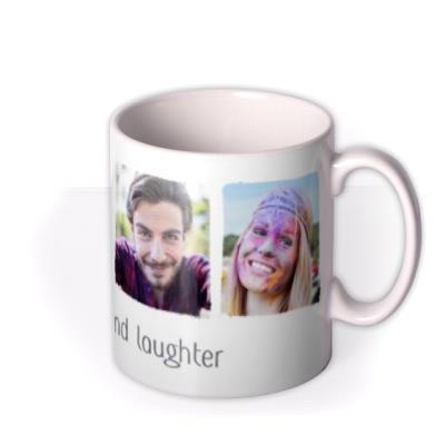 Photo upload mug - live, love and laughter