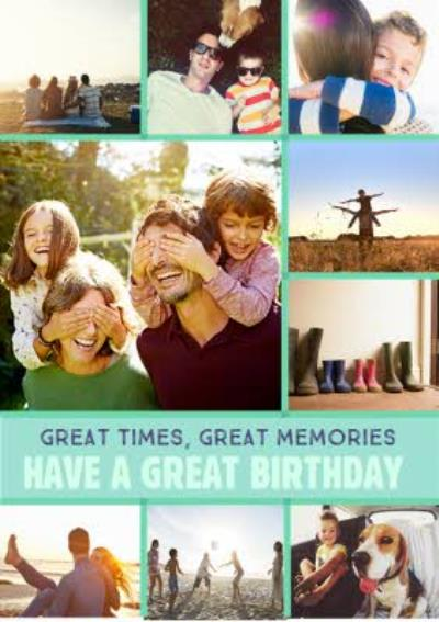 Bright Green Multi-Photo And Personalised Text Card