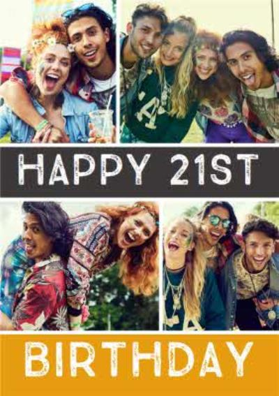21st Birthday Card - Use your own photos to create personalised 21st birthday cards