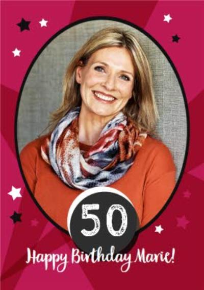 Stars And Stripes 50Th Birthday Photo Card