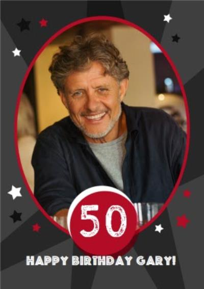 Stars 50Th Birthday Photo Card