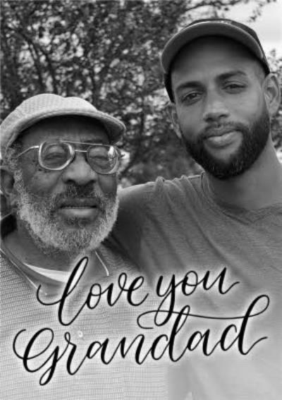 Black Script Lettering Love You Grandad Photo Card