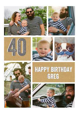 40th Birthday Photo Upload Card