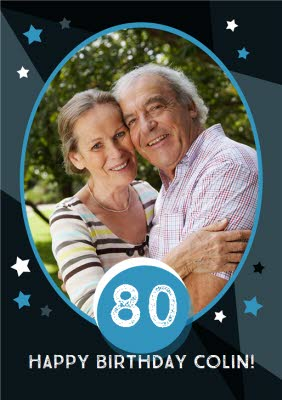 80th Birthday Photo Upload Card
