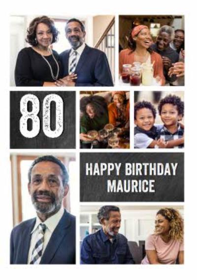 Multiple Photo Upload 80th Birthday Card