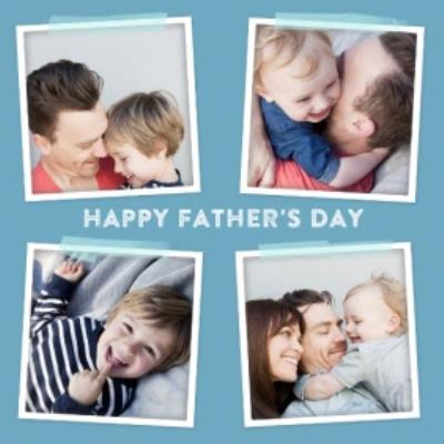 Blue 4 Square Personalised Photo Upload Happy Father's Day Card