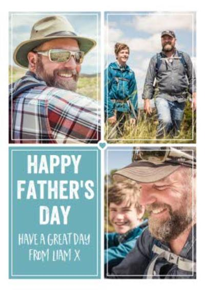 Bright Teal Happy Father's Day Multi-Photo Card