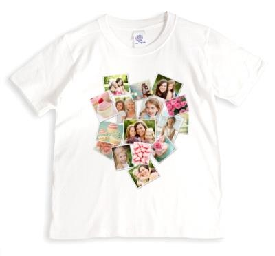 Heart Shaped Photo Collage Pink T-Shirt