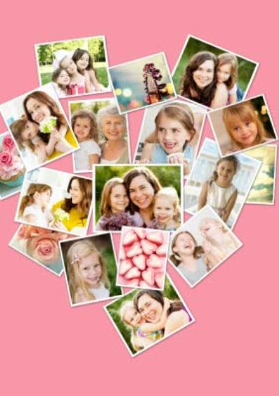 Pink Heart Shaped Multi Photo Upload Collage Card