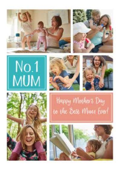 Pastel Number One Mum Multi Photo Mother's Day Card