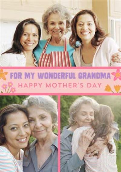 For My Wonderful Grandma Photo Upload Mothers Day Card