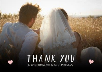 Pink Hearts Wedding Thank You Photo Card
