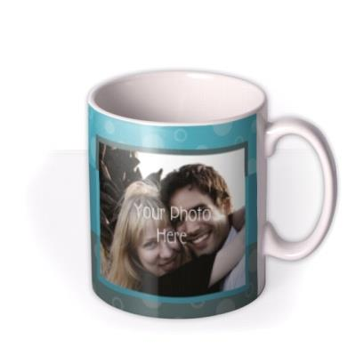Happy Birthday Blue Stripes Photo Upload Mug