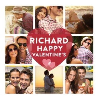 Valentine's Day Photo Card - Create your own photo college on this square Valentine's Day card.