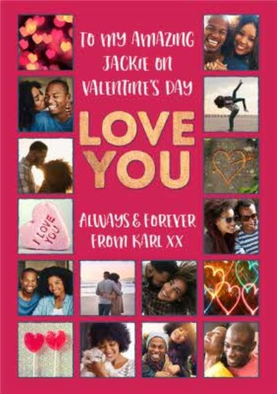 Love You Multiple Photo Upload Valentines Card