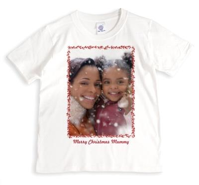 Merry Christmas Mummy Photo Upload T-shirt