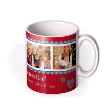 Red Christmas Banner Photo Upload Mug