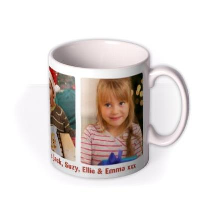 Merry Christmas Trio Photo Upload Mug
