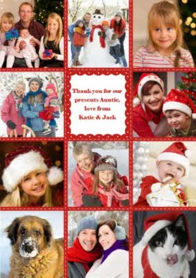 Red And White Stitched Frame Personalised Upload Photo Thank You Christmas Card