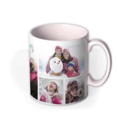 Merry Christmas Green Stars Photo Upload Mug
