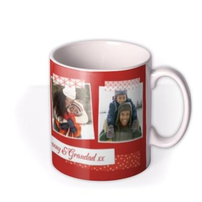 Merry Christmas Grandma Grandad Red Tape 3 Photo Upload Mug