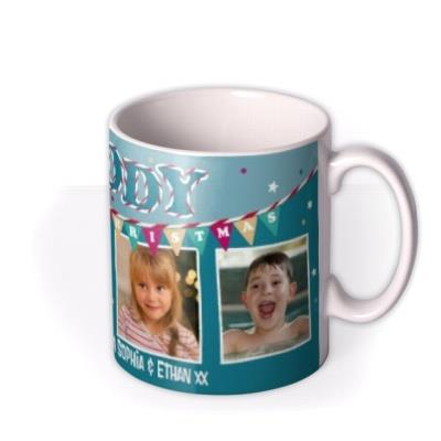 Merry Christmas Daddy Blue Bunting Photo Upload Mug