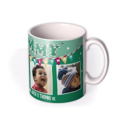 Merry Christmas Mummy Green Bunting Photo Upload Mug