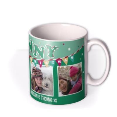 Merry Christmas Granny Green Bunting Photo Upload Mug