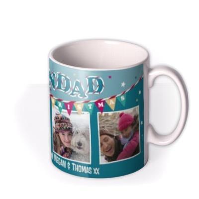 Merry Christmas Grandad Blue Bunting Photo Upload Mug